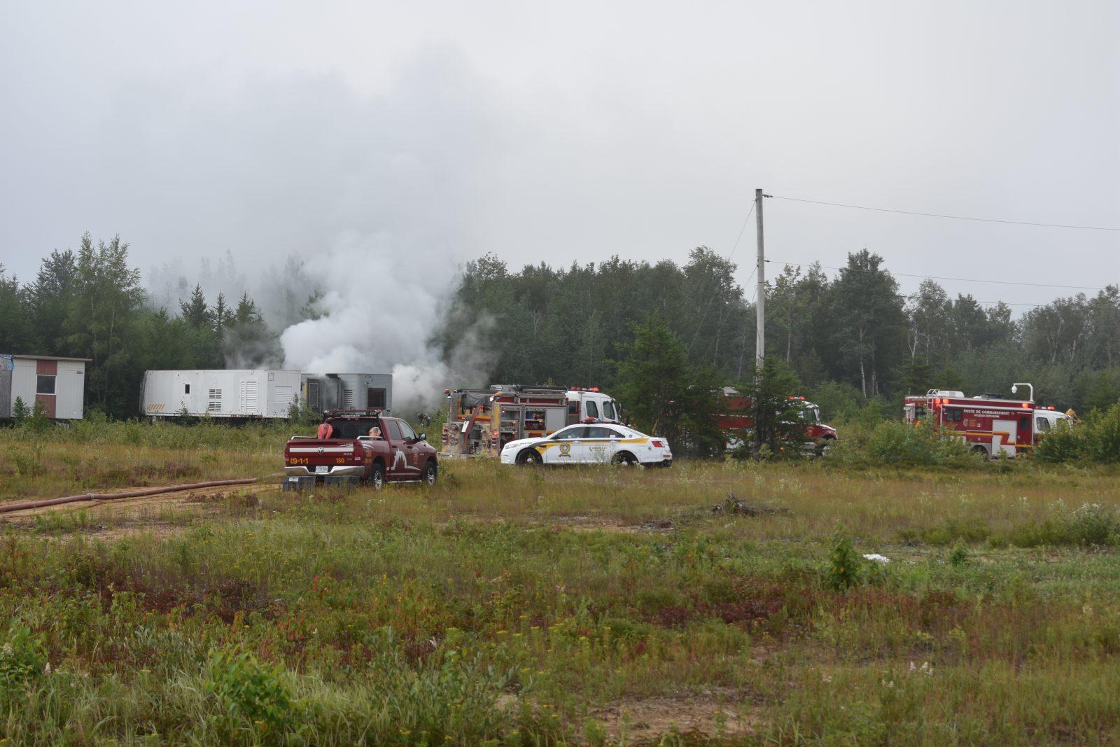 Incendie dans une remorque d'Unibec
