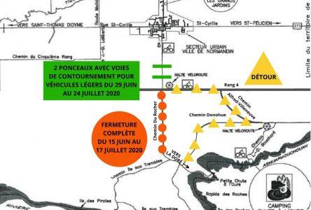 La circulation perturbée jusqu'à la fin de juillet sur l'avenue du Rocher à Normandin
