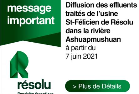 Diffusion des effluents traités de l'usine St-Félicien de Résolu dans la rivière Ashuapmushuan