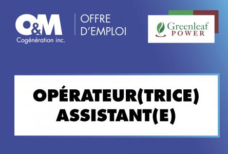 O&M Cogénération Inc., propriété de Greenleaf Power recherche un(e) opérateur(trice) assistant(e)