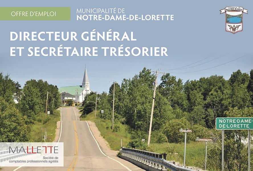 La municipalité de Notre-Dame-de-Lorette est à la recherche d'un directeur général et secrétaire-trésorier